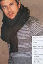 Mens Jumper and Scarf (S, M, L, XL,XXL) Easy Knitting Pattern