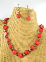 Red Coral Crystal Beads Fabric Fashion Necklace Earrings Women Jewelry Costume