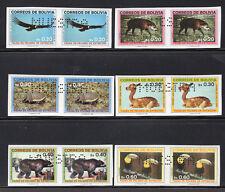BOLIVIA 1987 PAIR STAMP Sc. # 742/7 MNH ENDANGERED FAUNA SPECIMEN MUESTRA