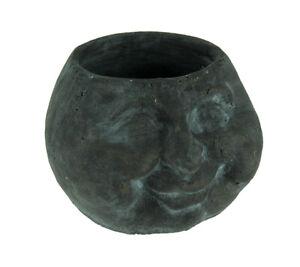 Distressed Dark Grey Ceramic Happy Face Head Planter