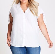 Plus Size Autograph Dobby Tie Sleeve Shirt White Colour Size 18 Free Post