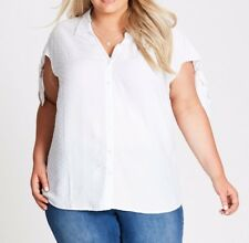 Plus Size Autograph Dobby Tie Sleeve Shirt White Colour Size 26 Post