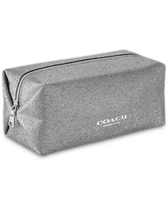 COACH fragrance silver glitter large TOILETRY cosmetic bag POUCH case travel new