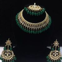 Green Kundan Necklace Earrings Tikka Bridal Indian Choker Fashion Jewelry Set