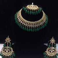 Green Kundan Necklace Earrings Tikka Bridal Indian Choker Fashion Jewelry Set-