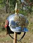 German Steel Prussian Militaria Pickelhaube Spiked Armor Helmet Without Stand