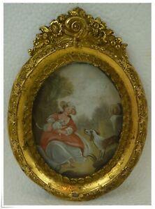 Antique Miniature French Painting Portrait Girl Cat  Dog Gilt Brass Ormolu Frame