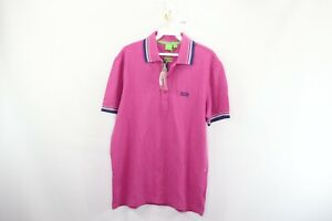 New Hugo Boss Mens Small Patrick Spell Out Striped Short Sleeve Golf Polo Shirt
