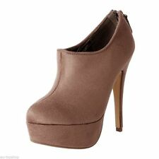 SIZE 8 TAUPE EXTREME STILETTO PLATFORM ANKLE BOOTS SUEDETTE NEW IN BOX