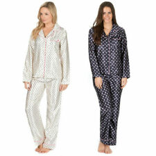 Ladies Long Sleeve Button Up Pyjama Shirt Top & Bottoms Satin PJ Set Nightwear