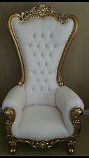 Chair - High Back Chair - High Back Baroque Chair - Queen Throne White w/ Gold