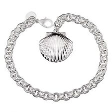 "Unique & Elegant Pure 925 Sterling Silver Shell Shape Locket 8"" Bracelet #007"
