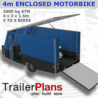 Trailer Plans - 4m ENCLOSED MOTORBIKE TRAILER PLAN- Trailer Build - PLANS ON USB