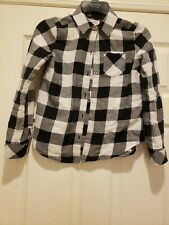 So Girls Size 10 Black/White Plaid Button Down Long Sleeved Shirt