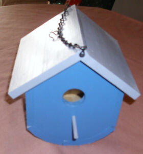 """Wooden Bird House- Handmade Hanging w/Rounded bottom  6"""" X 7"""" Blue/Gray"""