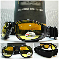 MOTORCYCLE BIKER Style RIDING PADDED Yellow Lens GOGGLES Great for Day or Night