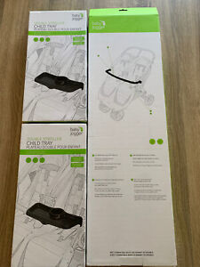 BNIB Set to fit Double Baby Jogger City Mini and GT - Belly Bar and Snack Trays