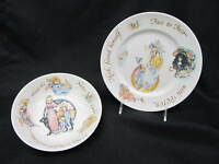 "2pc Vintage Royal Worcester PETER PAN Child's 8"" Plate & 7"" Bowl Set, England"