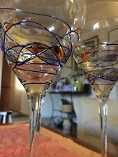 Crystal Wine Goblets Stained Glass Art Deco Style