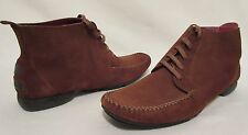 Salvatore Ferragamo Camel Brown Suede Lace Moccasin Chukka Boots Size 7 Womens