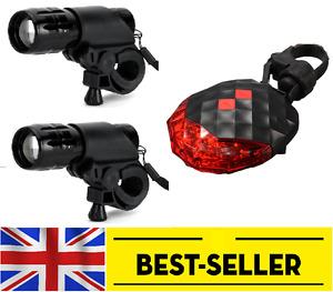2 pcs alloy front & rear tail 5 LED laser lights set light zoom lens focus bike