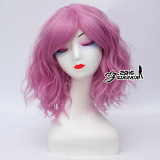 Lolita Women Dark Pink 35CM Medium Bang Curly Party Synthetic Cosplay Wig+Cap