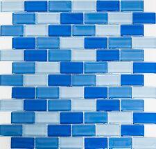 Rechteckmosaik 2 5x5 0x0 8cm Brick Mix Hellblau Mosaik