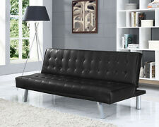 Black 3 Seater Sofabed Faux Leather Design Use as Sofa or Convert Into Bed