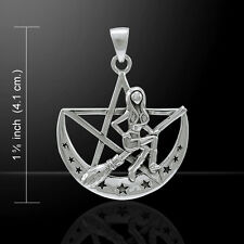Salem Witch Pentacle Crescent Moon .925 Sterling Silver Pendant Peter Stone