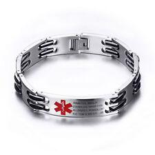 Free Engraving Stainless Emergency Medical Alert ID Bracelet Custom Bracelet