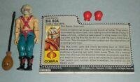 1987 GI Joe Cobra Boxer Trainer Big Boa v1 Figure w/ File Card & Boxing Gloves