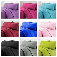 Plain Dyed Duvet Quilt Cover Bedding Set with Pillow Case Single Double King