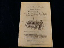 Vtg 1947 McCormick Deering Beet & Bean Drill Operating & Parts List Manual A64