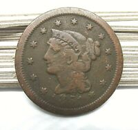 1851 Braided Hair Large Cent - Old Copper Penny
