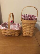 Lot Of 2 Euc Longaberger Baskets Liner & Protector 1998 Pink Rose Stripe