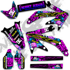 2002 2003 2004 CRF450R GRAPHICS KIT HONDA CRF 450 NIGHT RIDER : MAGENTA / CYAN