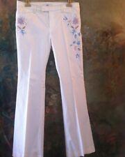 VERTIGO White Cotton PANTS Slacks Trousers Embroidered Jeans NEW Fr 42 US 10