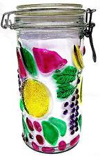 """WIRE BALE GLASS JAR - 8"""" - FRUIT PATTERN"""