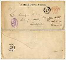 GB OFFICIAL 1913 HOODED SCROLL POSTAGE PAID in RED...NEW ZEALAND COMMISSIONER