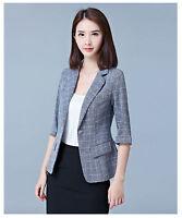 2017 Summer Women Business Casual 3/4 Sleeve Checks Suit Blazer Thin Coat Jacket