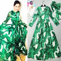 Runway Amazing Green Banana Leaves Printed Loose Long Dress Maxi Dress New 2021