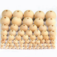 Round Natural Unpainted Wood Beads Unfinished DIY Baby Teething Jewelry Crafts