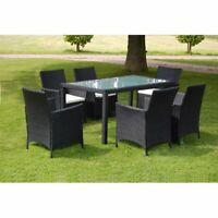 vidaXL Outdoor Dining Set 13 Pieces Poly Rattan Wicker Black Garden Furniture