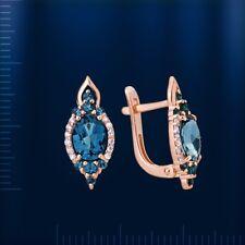 Russian solid rose gold 585 /14k beautiful london blue topaz earrings NWT