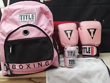 Title Club Boxing Training Gear Glove pink wrap medium backpack new with defects