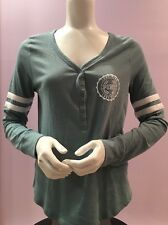 "NWT VICTORIA SECRET PINK VARSITY SLEEP SHIRT IN TEAL ""JUST LET ME SLEEP"", M SIZE"