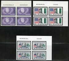 NIGERIA IMPERFORATE BLOCKS OF MEMORIAL JOHN F. KENNEDY MINT NH HINGED IN SELVAGE