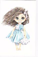 RARE beautiful girl toy in blue dress by Velikanova Russian modern postcard
