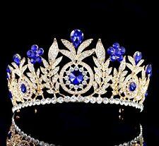 Daisy Floral Blue Austrian Rhinestone Tiara Crown Bridal Pageant Prom Wed T59bn