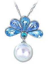 Fashion Aquamarine Peacock Fan Sapphire Large Faux Pearl Pendant Necklace Jewel